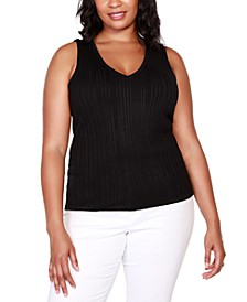 Black Label Plus Size Striped V-Neck Sweater Tank