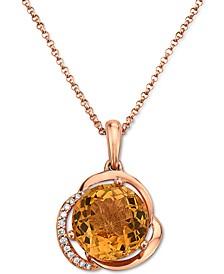 "EFFY® Citrine (3-1/6 ct. t.w.) & Diamond (1/20 ct. t.w.) 16"" Pendant Necklace in 14k Rose Gold"