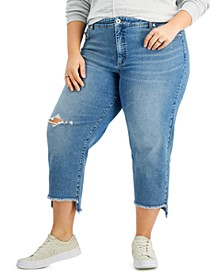 Plus Size High-Rise Authentic Straight Crop Jeans, Created for Macy's
