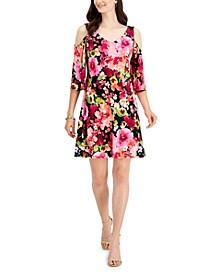 Printed Cold-Shoulder Fit & Flare Dress