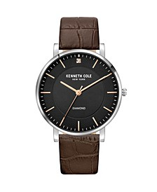 Men's 3 Hands Brown Dark Genuine Leather Strap Watch 42mm