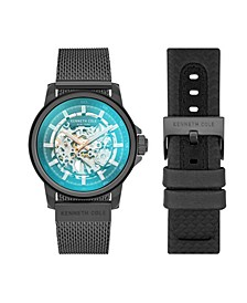Men's Automatic Two Tone Black Stainless Steel Mesh And Genuine Leather Strap Watch Set 44mm