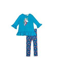 Little Girls Sequin Unicorn Applique with Printed Legging Set