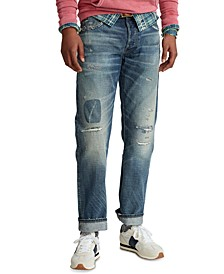 Men's Classic-Fit Distressed Selvedge Jeans