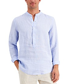 Men's Banded Collar Linen Shirt, Created for Macy's