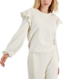 Cotton Ruffled-Shoulder Sweatshirt, Created for Macy's