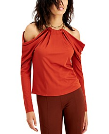 Draped Cold-Shoulder Chain-Neck Top, Created for Macy's