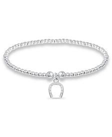 Bead Horse Shoe Charm Bracelet in Fine Silver Plate