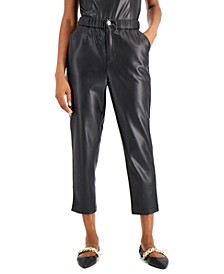Faux-Leather Cropped Pants, Created for Macy's