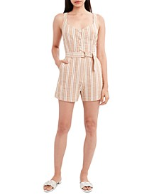 Striped Woven Belted Romper