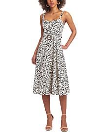 Gabby Animal-Print Belted Midi Dress