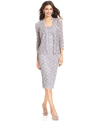 Alex Evenings Sequin Lace Dress and Jacket - Dresses - Women - Macy's