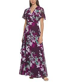 Chiffon Flutter-Sleeve Gown