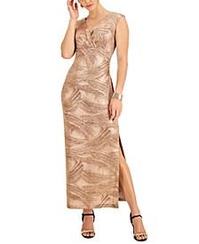 Petite V-Neck Metallic Foil Dress