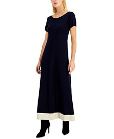 Contrast-Hem Papaile Maxi Dress