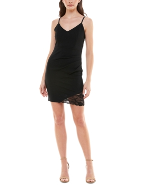 Juniors' Asymmetrical-Hem Bodycon Dress