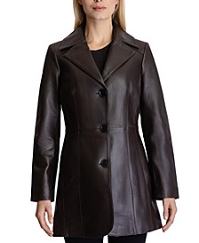 Single-Breasted Leather Coat