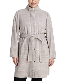 Plus Size Belted Walker Coat, Created for Macy's