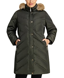Plus Size Chevron Faux-Fur-Trim Hooded Puffer Coat, Created for Macy's