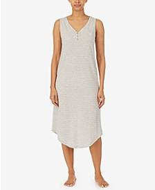 Knit Henley Ballet Cotton Nightgown