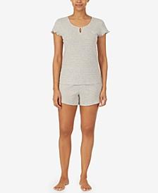 Cotton Short-Sleeve Top & Boxer Shorts Pajama Set