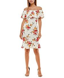 Juniors' Floral Off-The-Shoulder Dress
