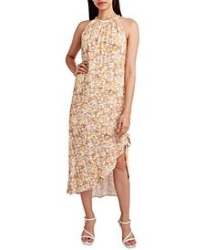 Animal-Print Halter-Neck Midi Dress