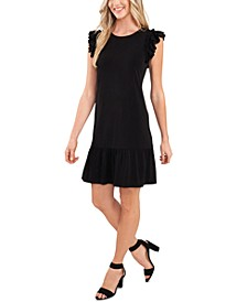 Flutter-Sleeve Ruffled-Hem Dress