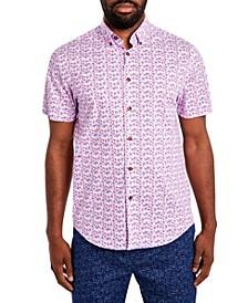 Men's Comfort Stretch Leaf Print Short Sleeve Shirt