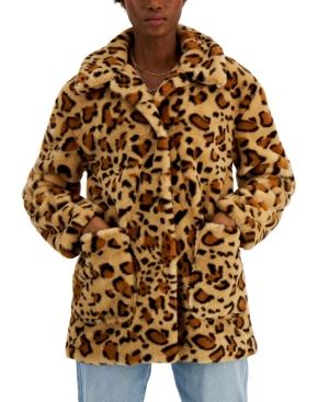 CoffeeShop Juniors' Leopard Faux-Fur Coat