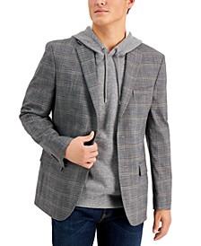Men's Modern-Fit Gray/Brown Plaid Blazer