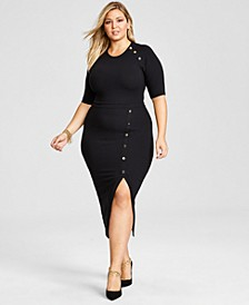 Trendy Plus Size Ribbed Midi Dress, Created for Macy's