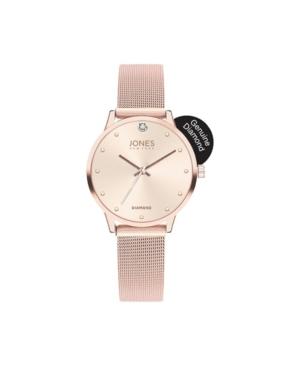 Jones New York Women's Genuine Diamond Shiny Blush Dial Rose Gold-Tone Mesh Strap Analog Watch 38mm