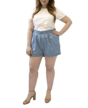 Plus Size Paper Bag Denim Shorts