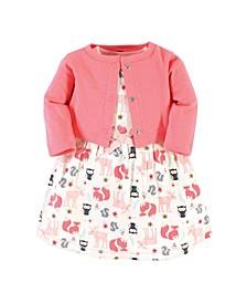 Toddler Girls Cotton 2 Piece Dress and Cardigan Set