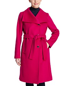 Petite Asymmetrical Belted Wrap Coat