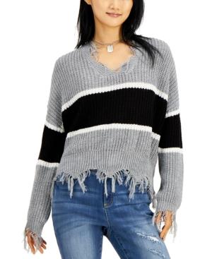 Juniors' Striped Destructed V-Neck Sweater