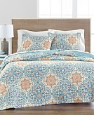Martha Stewart Collection Printed Tile Quilt Full/Queen Created for Macys Bedding