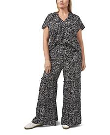 Plus Size Printed Ditsy Ruffled Pants