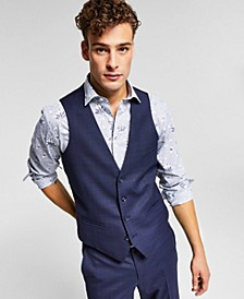 Men's Slim-Fit Blue Plaid Suit Vest, Created for Macy's