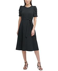 Ruched-Sleeve Midi Dress