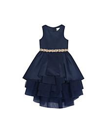 Big Girls Satin Dress with Tiered Mesh Skirt
