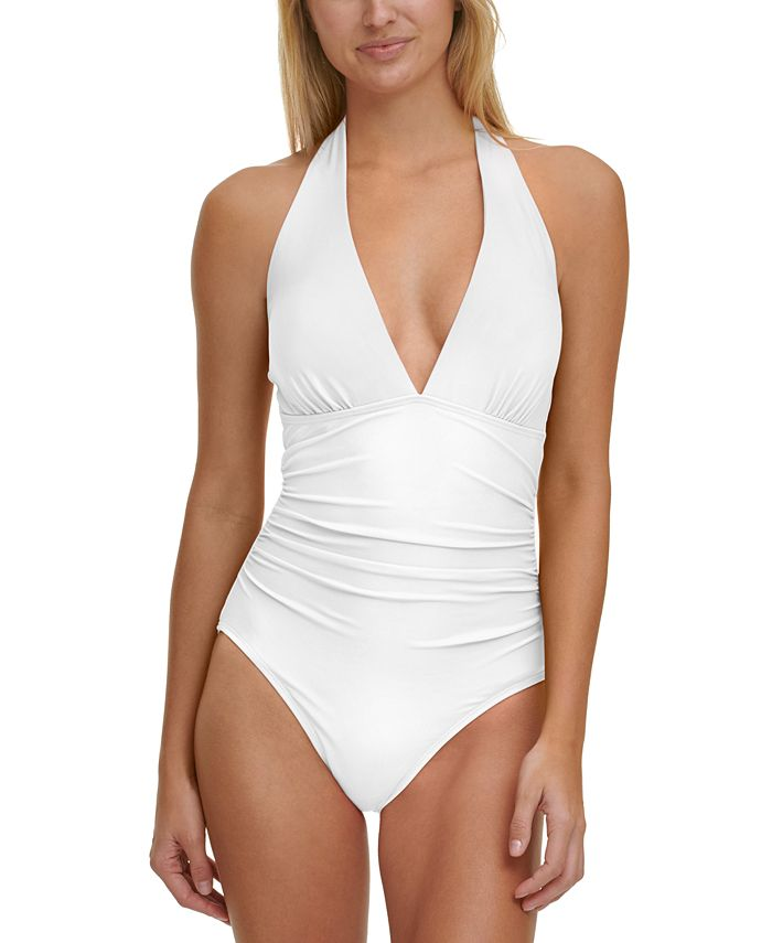 Tommy Hilfiger - Solid Halter One-Piece Swimsuit