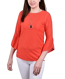 Women's 3/4 Tulip Sleeve Blouse with Necklace