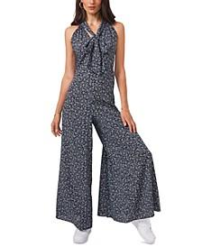Printed Tie-Neck Jumpsuit