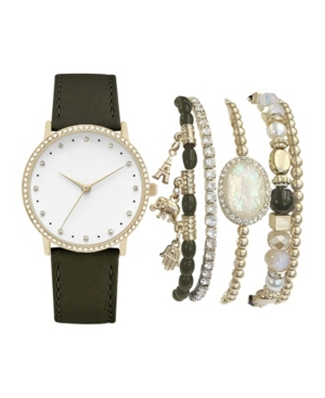 Women's Analog Olive Strap Watch 36mm with Gold-Tone Charm and Stone Bracelets Set