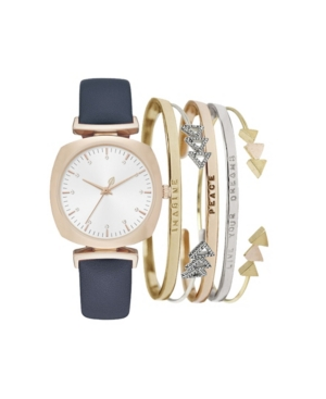 Women's Analog Navy Strap Watch 34mm with Stackable Live Your Dreams Bracelets Cubic Zirconia Gift Set