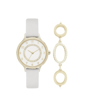 Women's Analog White Strap Watch 34mm with Gold-Toned Cubic Zirconia Crystal Bracelet Gift Set