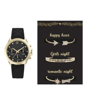 Women's Analog Black Quilted Strap Watch 34mm with Girl's Night Bracelets Cubic Zirconia Gift Set