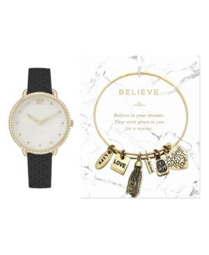 Women's Analog Black Strap Watch 26mm with Believe Charm Bracelet Cubic Zirconia Gift Set